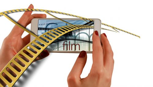 hands smartphone cinema strip