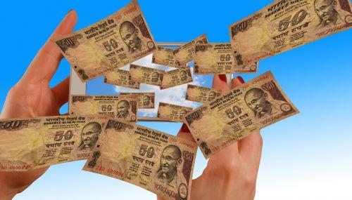 hands smartphone rupee