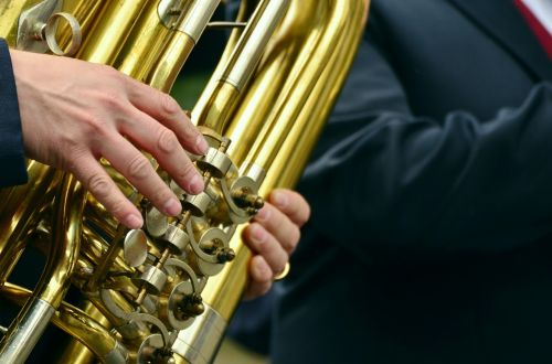 hands musical instrument tuba