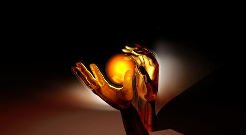 hands sphere light