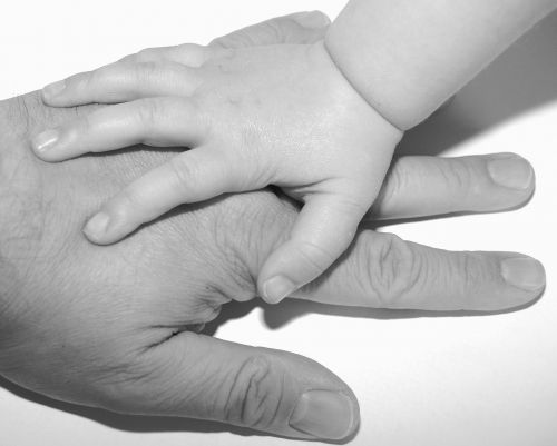 hands child dad
