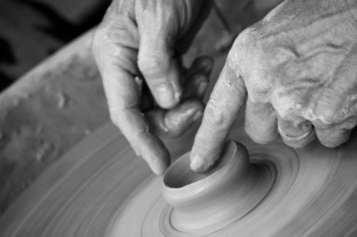 hands clay pottery