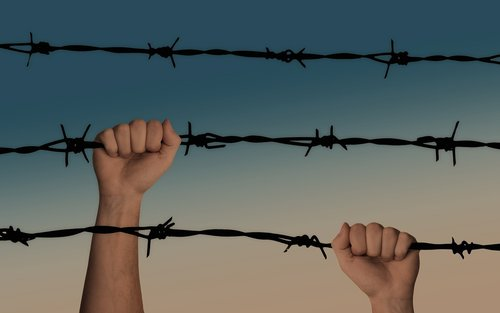 hands  barbed wire  caught