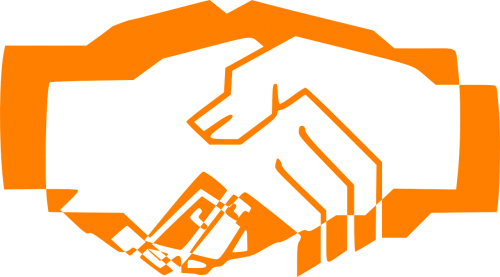 handshake orange hand shake