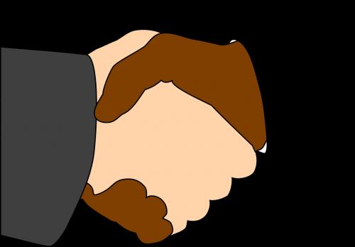 handshake black white