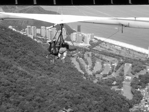 hang gliding black and white landscape