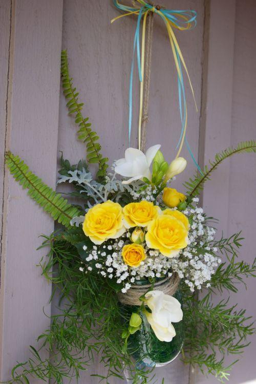 Hanging Yellow Flower Arrangement
