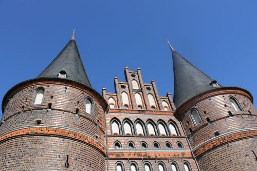 hanseatic city of lübeck germany holsten gate is more than 300 years old