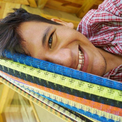 happy half face smiling