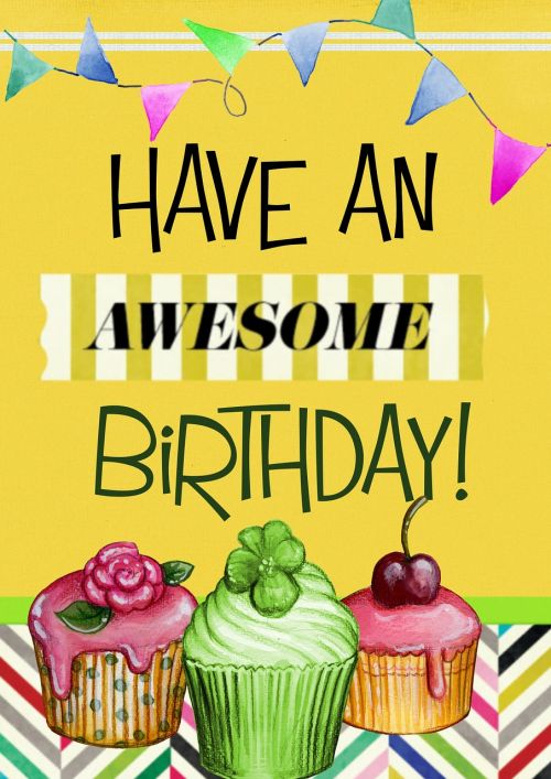 happy birthday awesome yellow