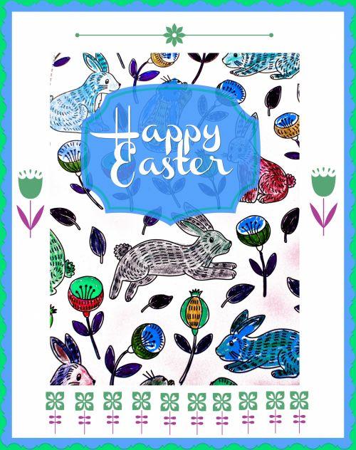 Happy Easter Bunnies Blue