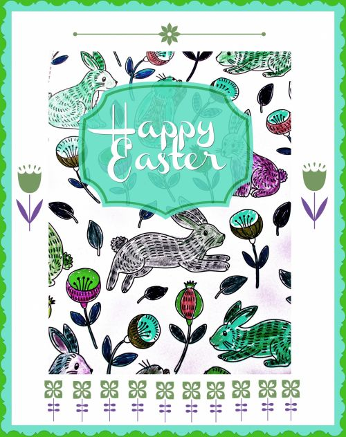 Happy Easter Bunnies Green