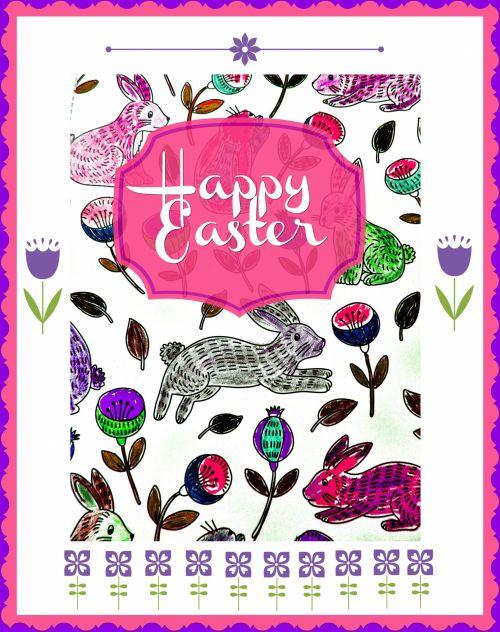 Happy Easter Bunnies Pink