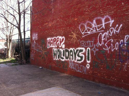 Happy Holidays Street Art