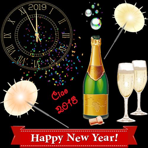 happy new year  clock  midnight