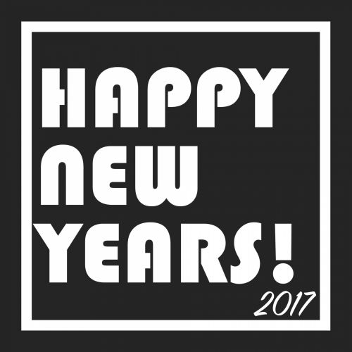 Happy New Years 2017 B&W