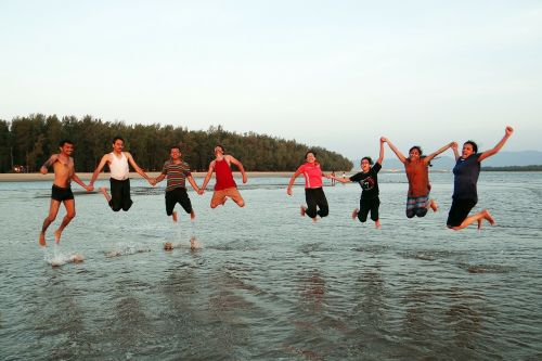 happy people happy jumping