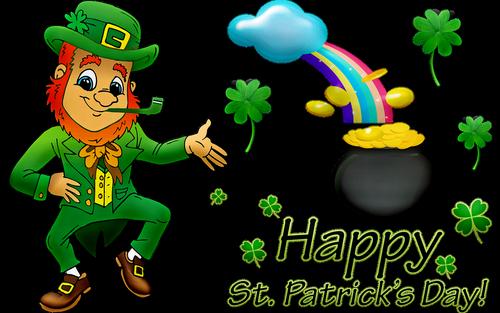 happy st patrick's day  leprechaun  rainbow