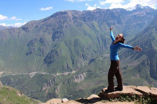happy woman adventure hiking