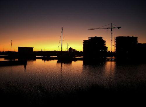 harbor sunset urban