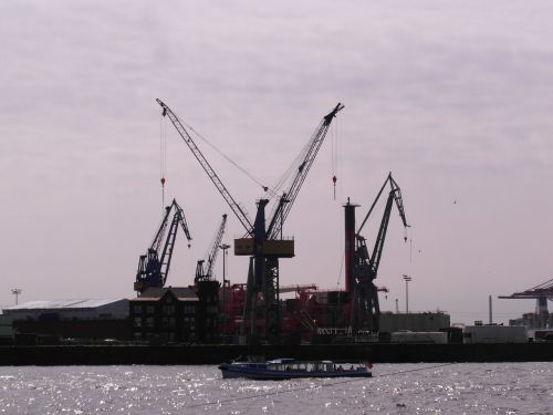 harbour cranes port hamburg