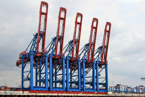 harbour cranes port hamburg