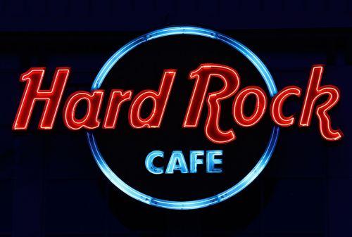 hard rock cafe neon advertising