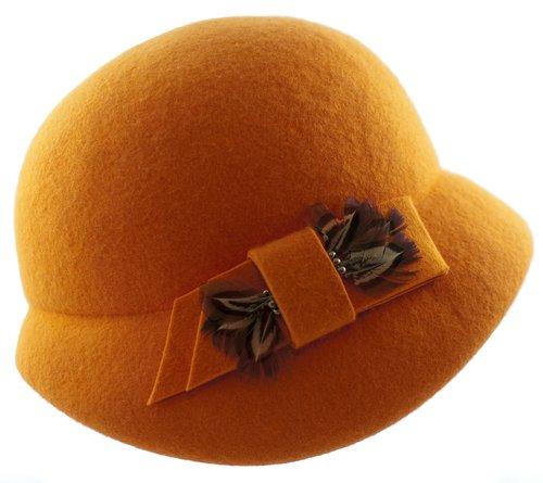 hat womens  hat filcowy  hat orange