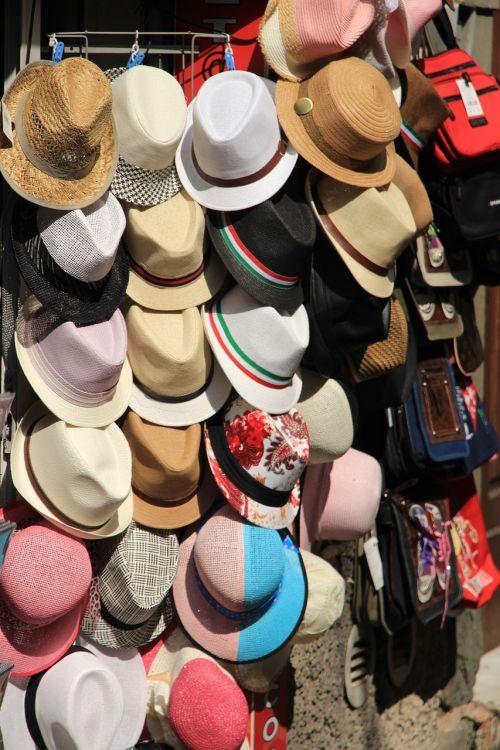 hats kiosk straw hat