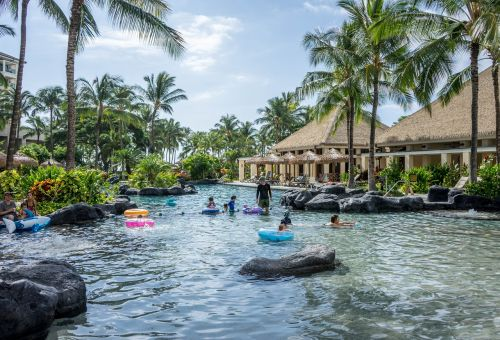 hawaii,oahu,ko olina,marriott,resort,travel,vacation,outdoor,outside,tropical,summer,happy,summer vacation,nature,sun,waterfall,children,person,people,summer landscape,summer fun,water,pool