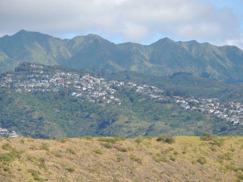 Hawaii, sala, kraštovaizdis, kalnai, miškas, medžiai, Miestas, havajų kraštovaizdis 2