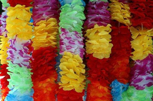 hawaiian lei  floral  vibrant colors
