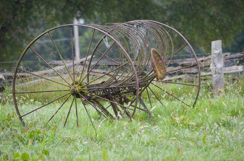 hay rake vintage farm equipment farm equipment