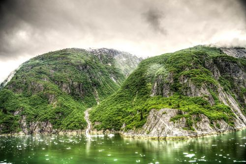 hdr tracy arm fjord alaska