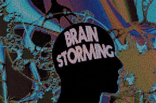 head brainstorming idea circles