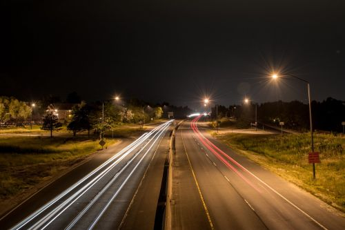 headlights roads night