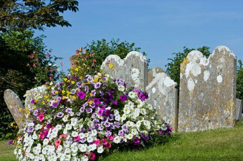 Headstone & Flowers