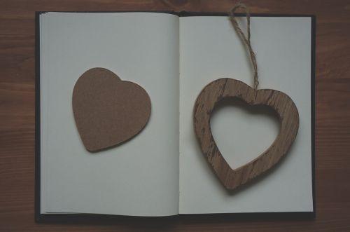 heart wooden notebook