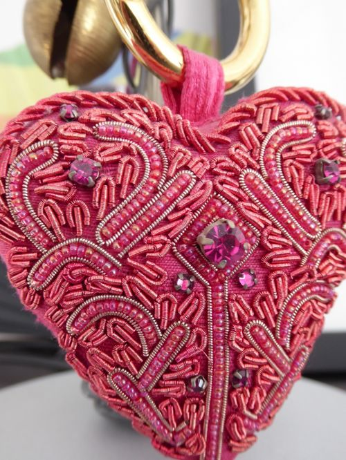 heart embroidery red