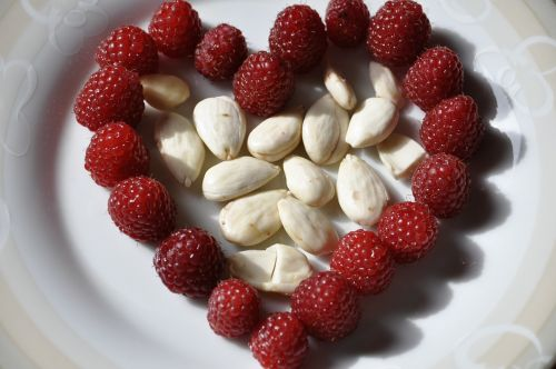 heart almonds raspberries