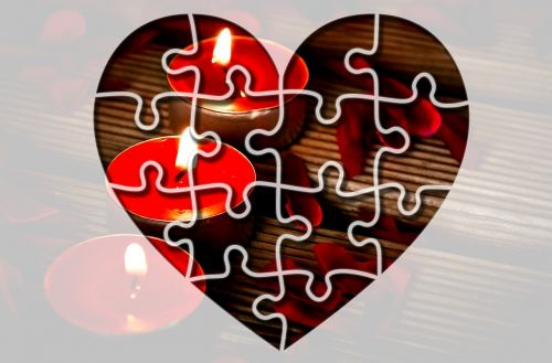 heart puzzle candles