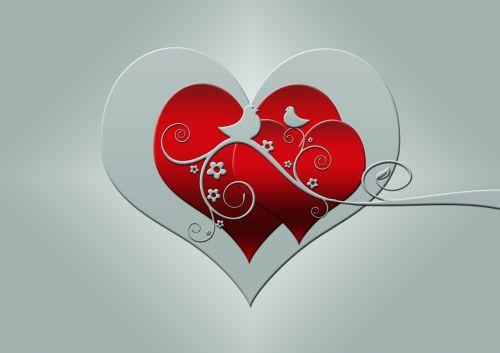 heart birds kringel