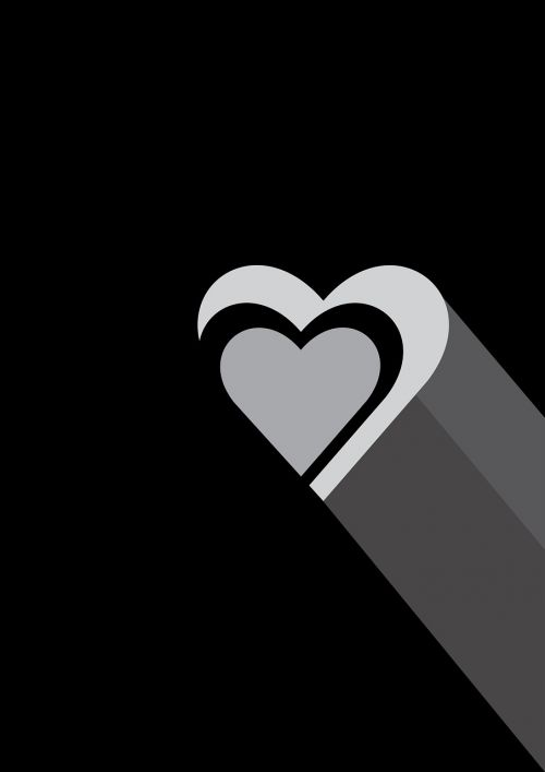 heart love black and white