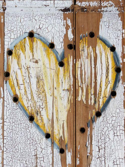 heart peeling paint tousled