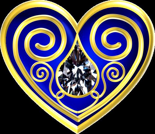 heart blue gold