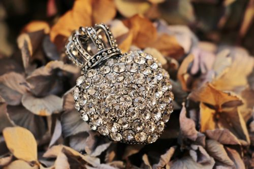 heart crown rhinestone