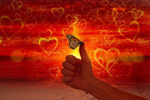 širdis,meilė,Kaip,nykštukė,drugelis,lengvumas,sveikata,meilė,aukštas,teigiamas,susitarti,sutikimas,taip,naudai,ranka,puikus,puiku,viršuje,pirštas,Gerai,man patinka,saulėlydis,sėkmė,laimingas,svajones,siluetai,būti tiesa
