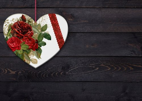 heart  flowers  background image