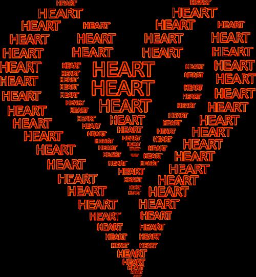 heart shapes writings