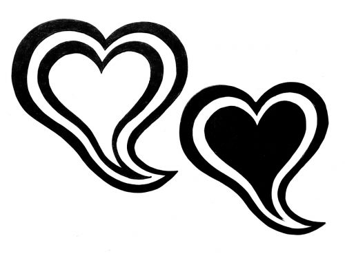 heart double heart black and white